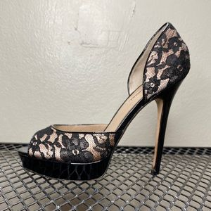 Charles David Open Toe Lace Heels Size 7